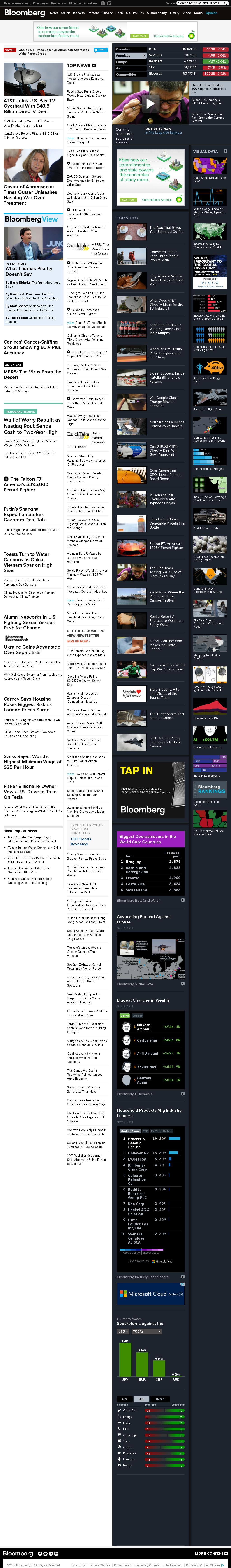 Bloomberg at Monday May 19, 2014, 2:01 p.m. UTC