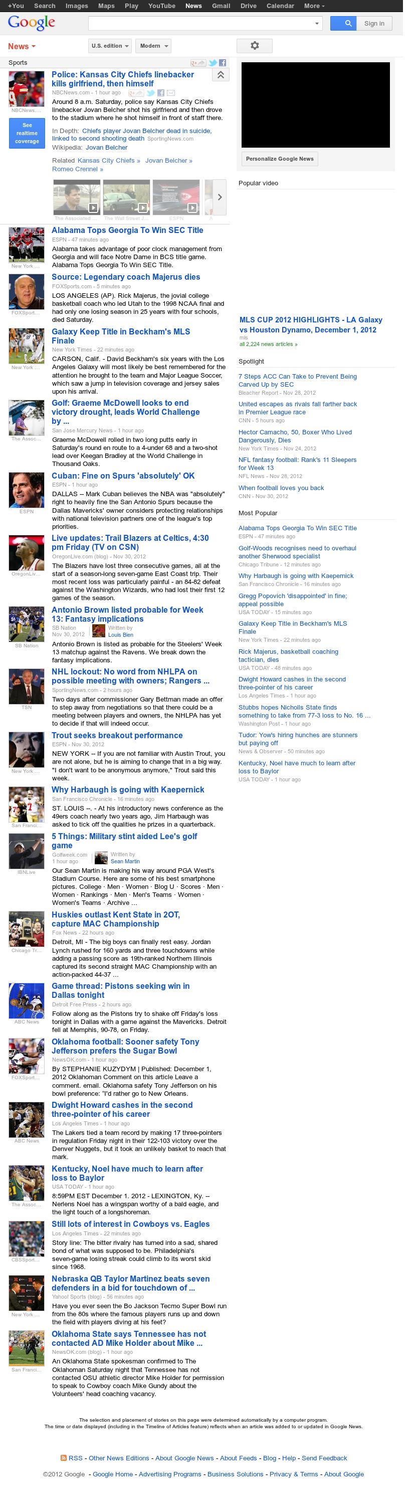 Google News: Sports at Sunday Dec. 2, 2012, 3:11 a.m. UTC
