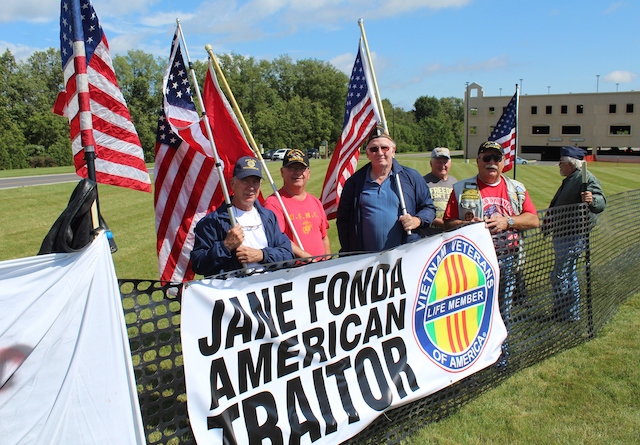 HALL OF SHAME: Vocal Vietnam veterans rally outside of del Lago during the NWHOF Induction Ceremony