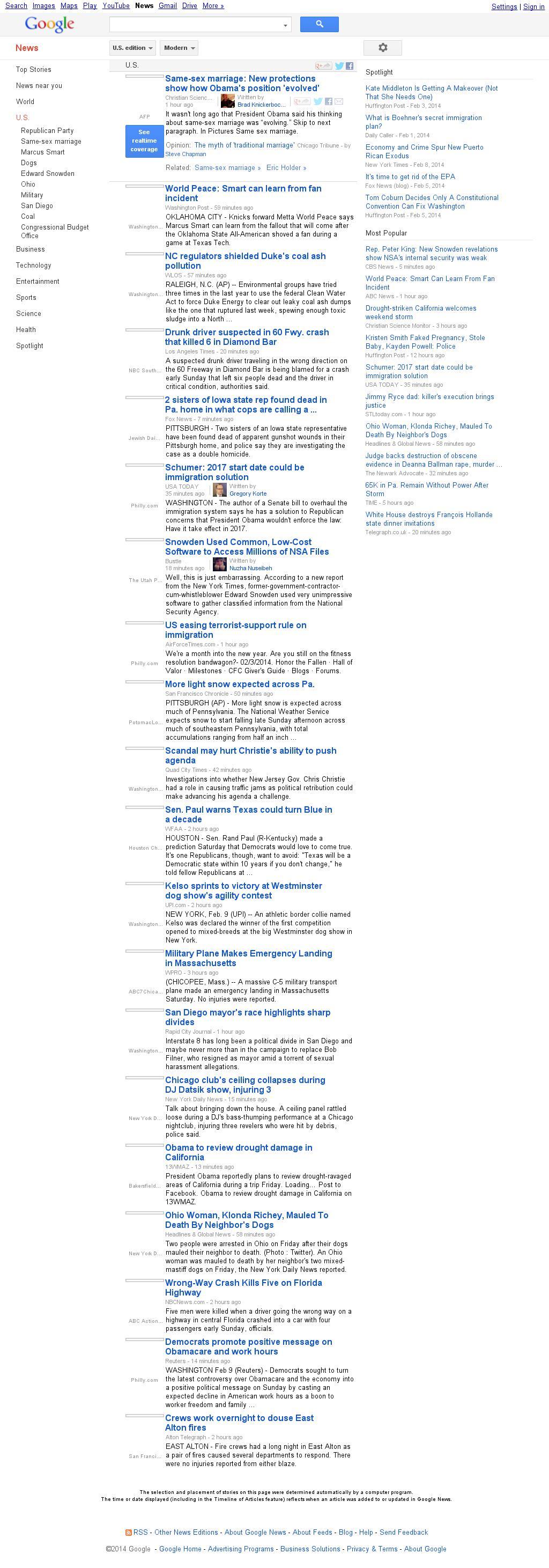 Google News: U.S. at Sunday Feb. 9, 2014, 7:07 p.m. UTC
