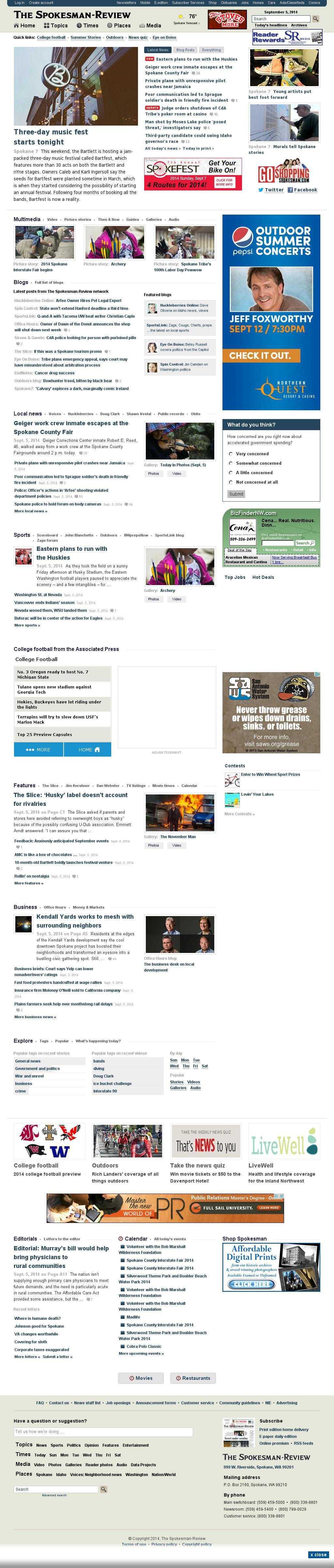The (Spokane) Spokesman-Review at Saturday Sept. 6, 2014, 2:20 a.m. UTC