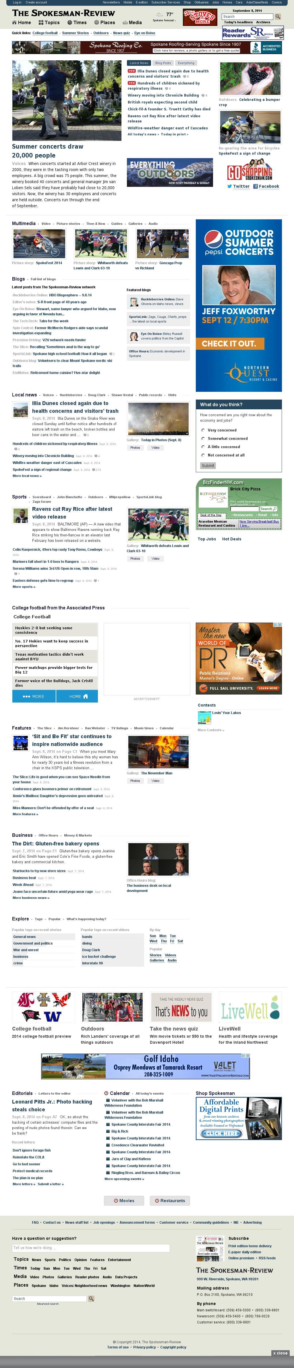 The (Spokane) Spokesman-Review at Monday Sept. 8, 2014, 10:23 p.m. UTC