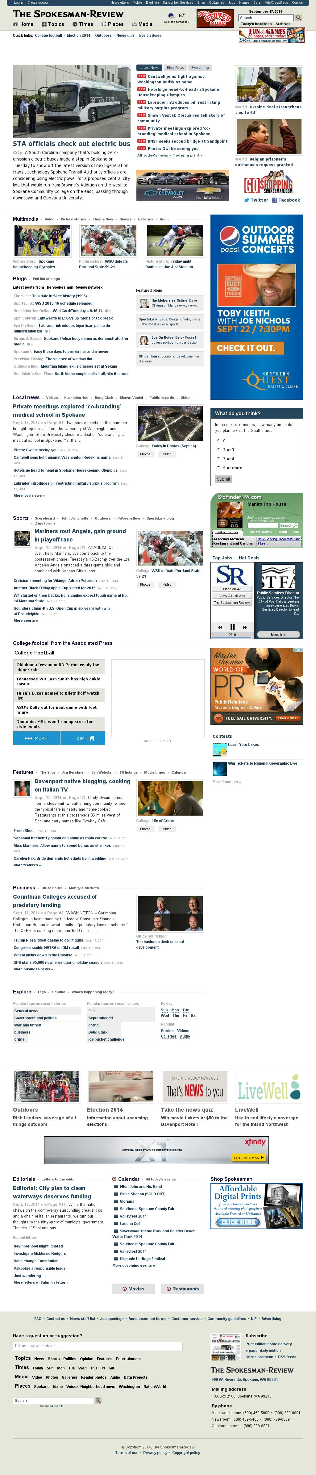 The (Spokane) Spokesman-Review at Wednesday Sept. 17, 2014, 7:20 a.m. UTC