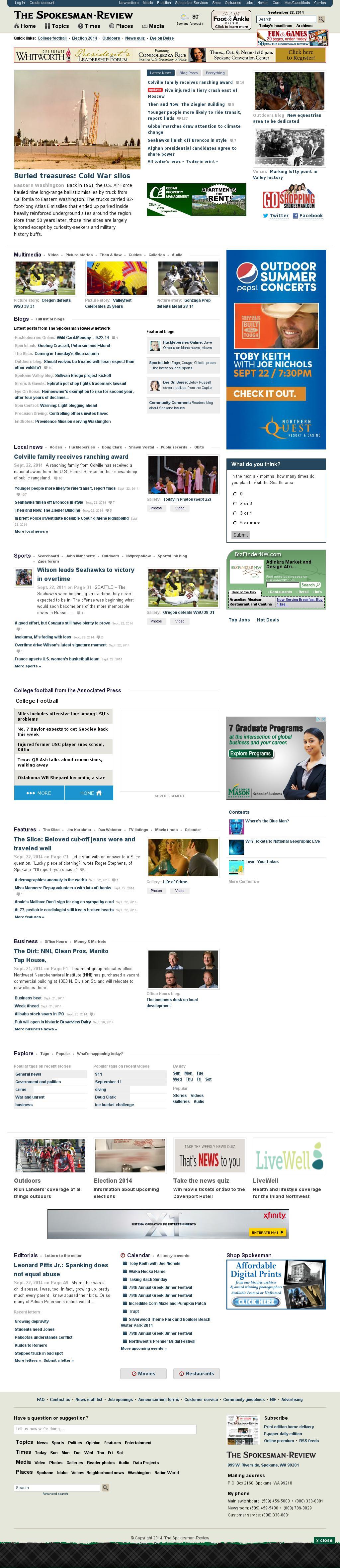 The (Spokane) Spokesman-Review at Tuesday Sept. 23, 2014, 1:21 a.m. UTC