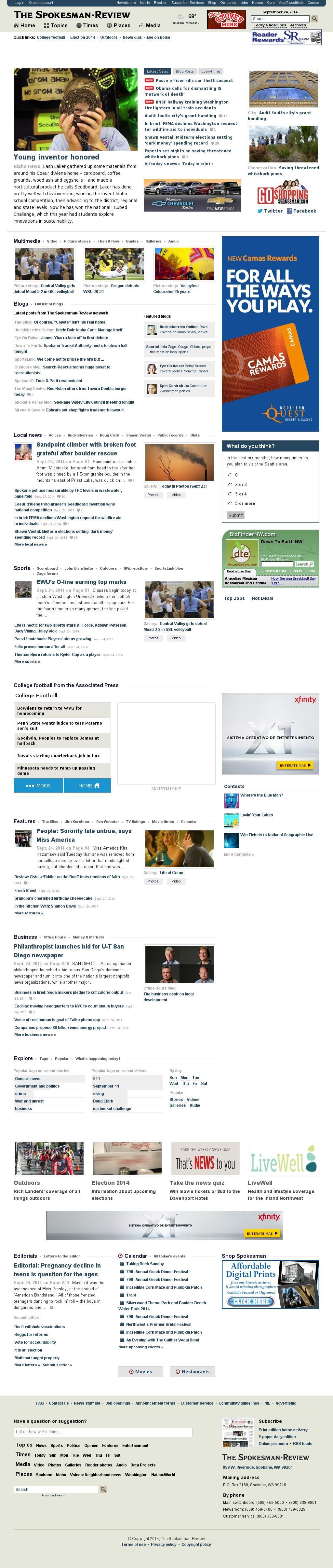 The (Spokane) Spokesman-Review at Wednesday Sept. 24, 2014, 4:18 p.m. UTC
