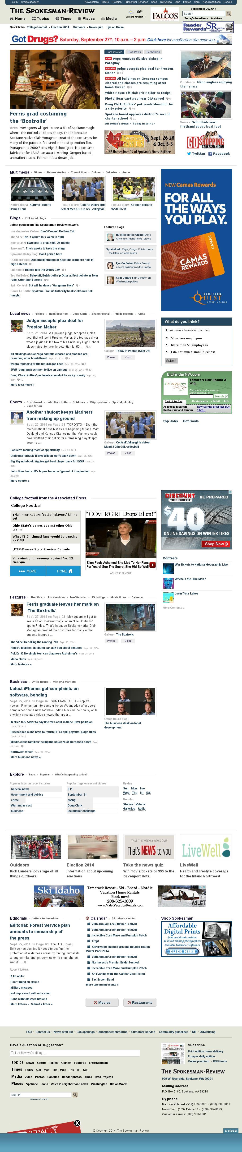 The (Spokane) Spokesman-Review at Thursday Sept. 25, 2014, 7:23 p.m. UTC